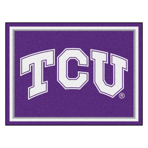 8' x 10' Purple and White NCAA Texas Christian University Horned Frogs Non-Skid Area Rug - IMAGE 1