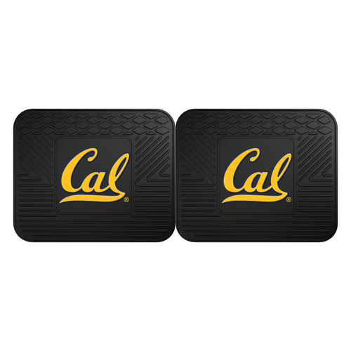 "Set of 2 Black and Yellow NCAA University of California Berkeley Golden Bears Car Floor Mats 14"" x 17"" - IMAGE 1"