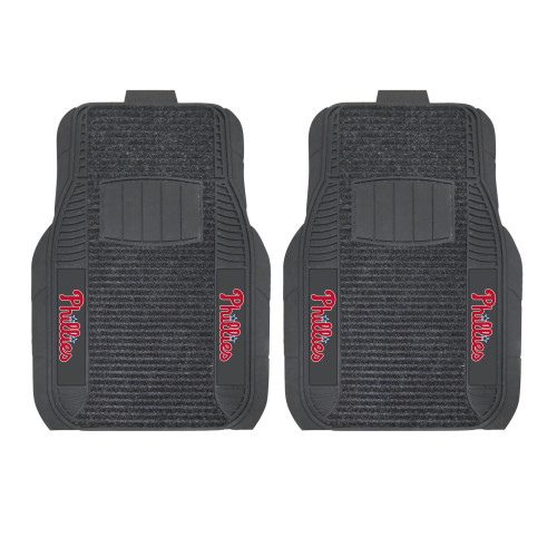 """Set of 2 Black and Red MLB Philadelphia Phillies Deluxe Car Mats 21"""" x 27"""" - IMAGE 1"""