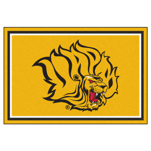 5' x 8' Gold and Red NCAA Bluff Lions Foot Plush Non-Skid Area Rug - IMAGE 1