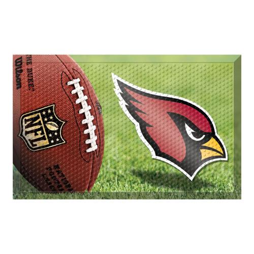 """19"""" x 30"""" Green and Red NFL Cardinals Shoe Scraper Outdoor Door Mat - IMAGE 1"""
