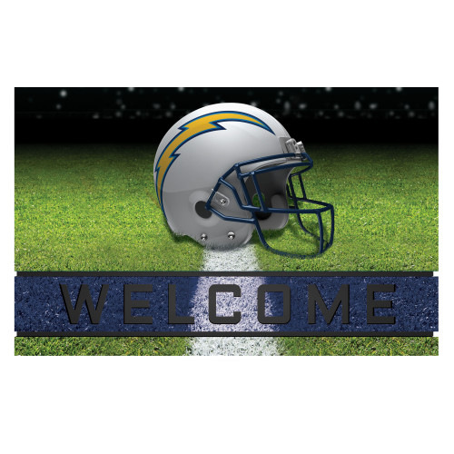 """18"""" x 30"""" Green and White Contemporary NFL Chargers Outdoor Door Mat - IMAGE 1"""