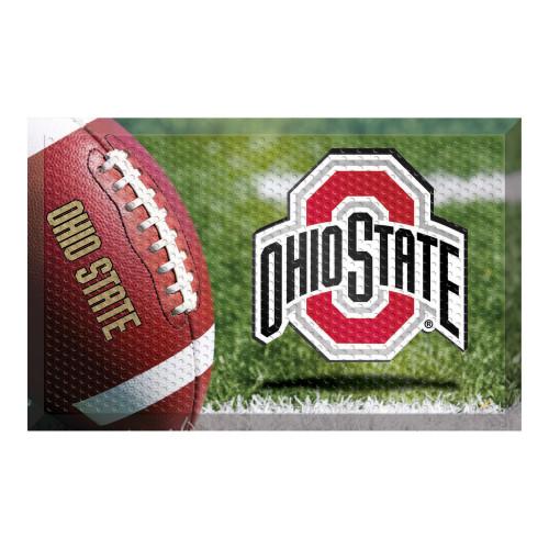 "19"" x 30"" Green and Red NCAA Ohio State University Buckeyes Scraper Rectangular Door Mat - IMAGE 1"