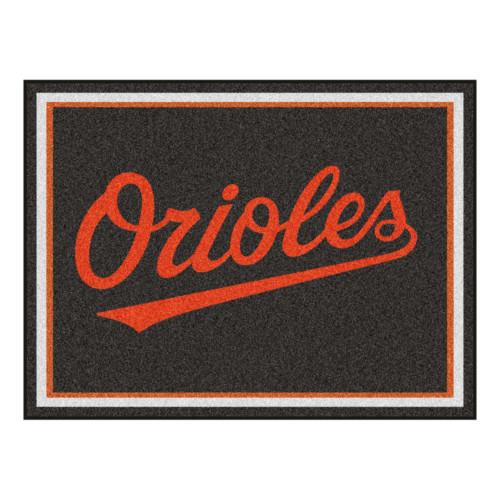 "87"" x 117"" Orange and Brown MLB Baltimore Orioles Plush Non-Skid Area Rug - IMAGE 1"