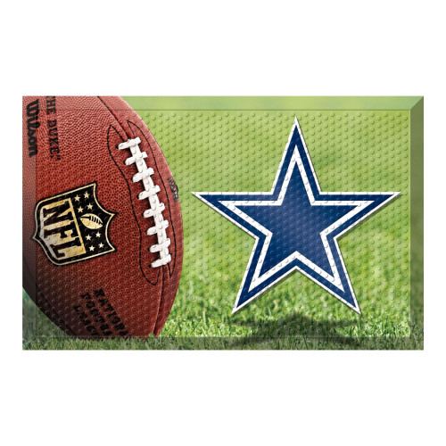 """19"""" x 30"""" Brown and Blue NFL Dallas Cowboys Shoe Scraper Door Mat - IMAGE 1"""