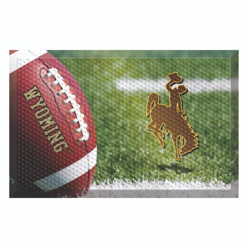 "Red and Brown NCAA University of Wyoming Cowboys Shoe Scraper Doormat 19"" x 30"" - IMAGE 1"