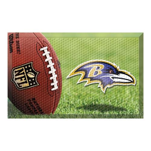"""19"""" x 30"""" Brown and Blue NFL Baltimore Ravens Shoe Scraper Door Mat - IMAGE 1"""