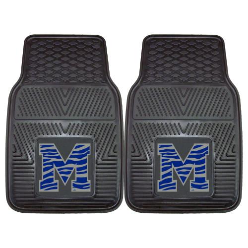 "Set of 2 Black and Blue NCAA University of Memphis Tigers Car Mats 17"" x 27"" - IMAGE 1"