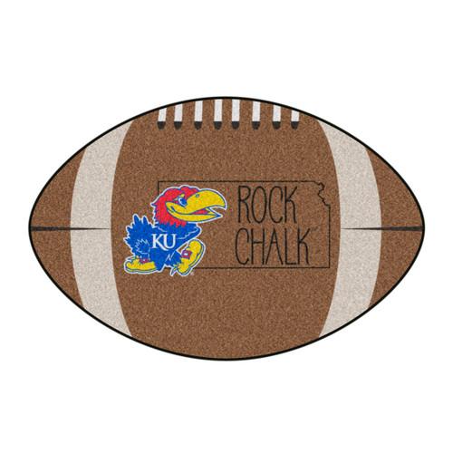 "20.5"" x 32.5"" Brown and Blue NCAA University of Kansas Jayhawks Mat Area Rug - IMAGE 1"