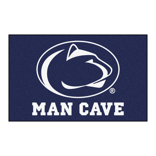 4.9' x 7.8' Navy Blue and White NCAA Penn State Nittany Lions Man Cave Rectangular Area Rug - IMAGE 1