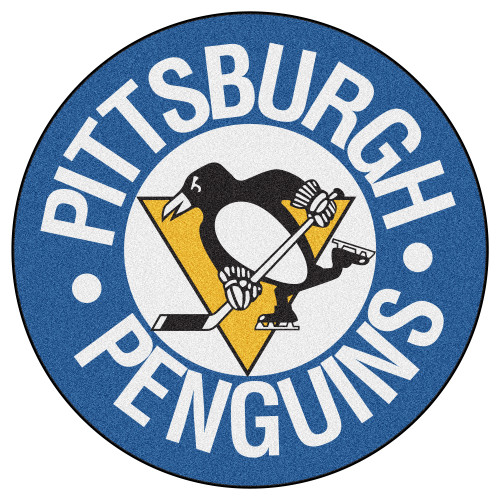 """27"""" Blue and White NHL Pittsburgh Penguins Puck Mat Round Area Rug - IMAGE 1"""
