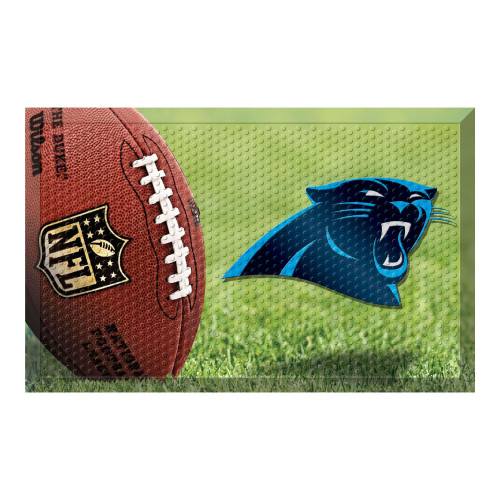 "19"" x 30"" Brown and Blue NFL Carolina Panthers Shoe Scraper Door Mat - IMAGE 1"