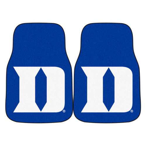 "Set of 2 Blue and White NCAA Duke University Blue Devils Front Carpet Car Mats 17"" x 27"" - IMAGE 1"