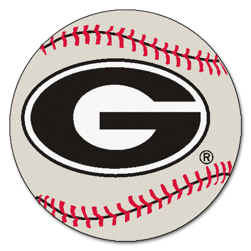 2.25' Gray and Red NCAA University of Georgia Bulldogs Baseball Shaped Door Mat - IMAGE 1