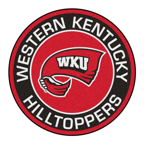 """27"""" Black and Red NCAA Western Kentucky University Hilltopper Rounded Mat Area Rug - IMAGE 1"""