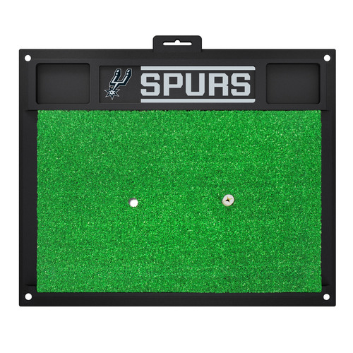 "20"" x 17"" Black and Green NBA San Antonio ""Spurs"" Golf Hitting Mat Practice Accessory - IMAGE 1"