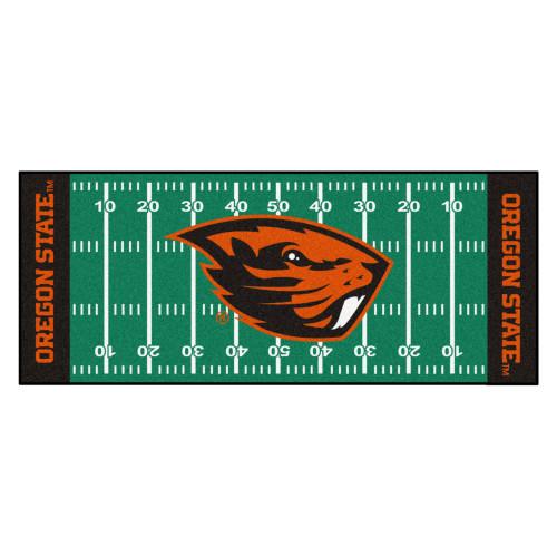 "30"" x 72"" Green and Orange NCAA Oregon State University Beavers Football Field Mat Area Rug Runner - IMAGE 1"