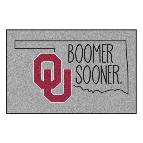 """19"""" x 30"""" Gray and Red NCAA University of Oklahoma Sooners Starter Mat Area Rug - IMAGE 1"""