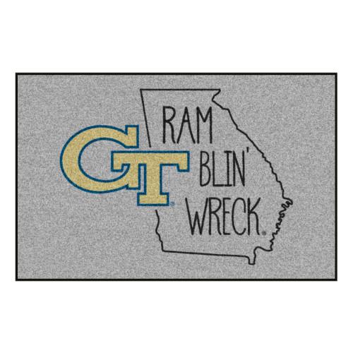 "19"" x 30"" Gray NCAA Georgia Tech Yellow Jackets Rectangular Area Rug - IMAGE 1"