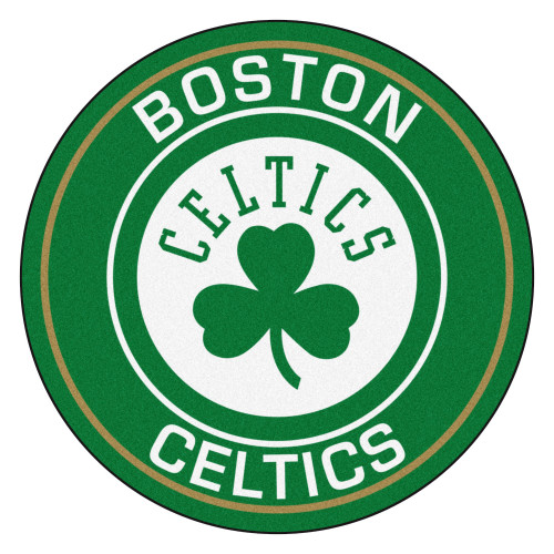 """27"""" Green and White NBA Boston Celtics Rounded Door Mat - IMAGE 1"""