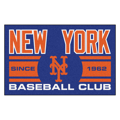 "19"" x 30"" Orange and Blue MLB New York Mets Starter Mat Rectangular Area Rug - IMAGE 1"