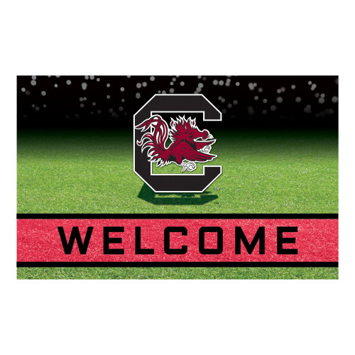"""18"""" x 30"""" Green and Red Contemporary NCAA Gamecocks Outdoor Door Mat - IMAGE 1"""