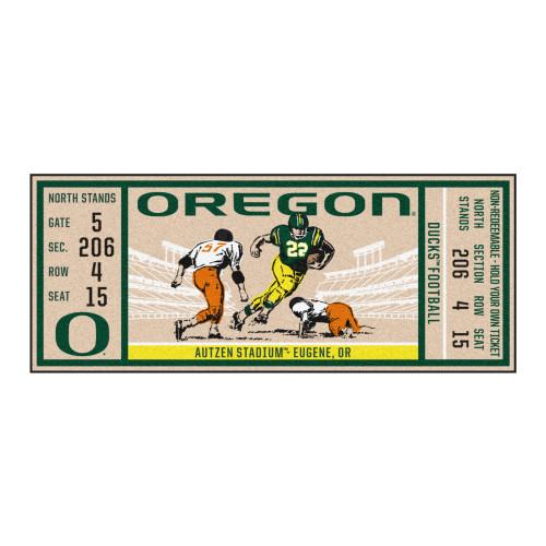 "30"" x 72"" Green NCAA University of Oregon Ducks Ticket Non-Skid Mat Area Rug Runner - IMAGE 1"