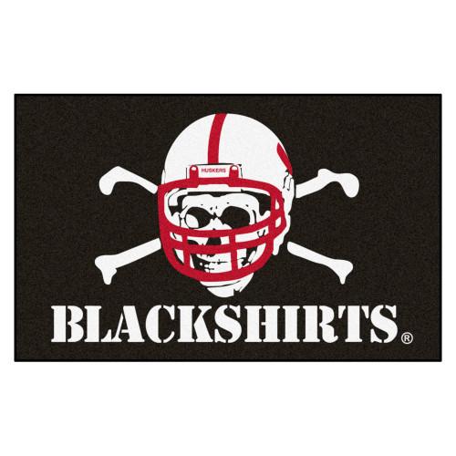 "4.9' x 7.8' White NCAA University of Nebraska ""Blackshirts"" Cornhuskers Rectangular Area Rug - IMAGE 1"