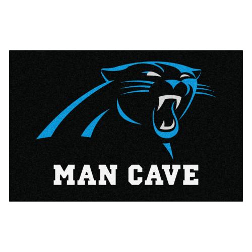 """33.75"""" x 42.5"""" 19"""" x 30"""" Black and White NFL Carolina Panthers """"Man Cave"""" Door Mat - IMAGE 1"""