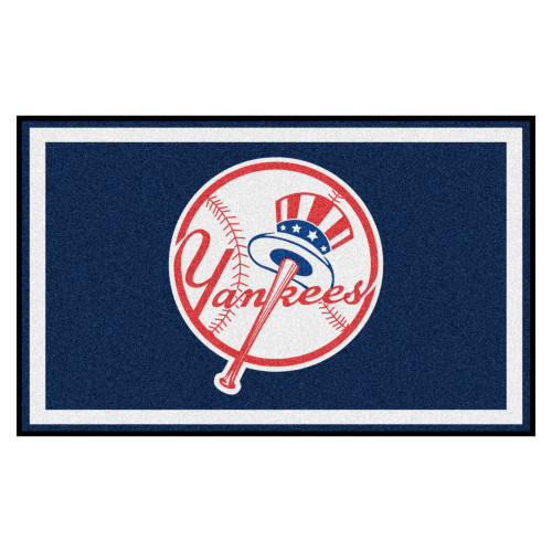 3.6' x 5.9' Blue and White Contemporary NCAA New York Yankees Rectangular Area Rug - IMAGE 1