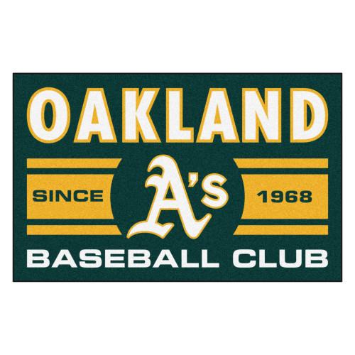 "19"" x 30"" Yellow and Green MLB Oakland Athletics Starter Mat Rectangular Area Rug - IMAGE 1"