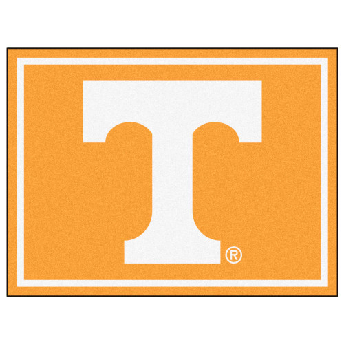 7.25' x 9.75' Orange and White NCAA University of Tennessee Volunteers Plush Non-Skid Area Rug - IMAGE 1