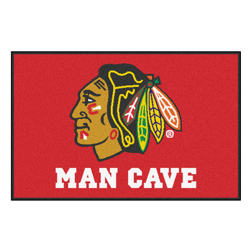 "19"" x 30"" Green and Red NHL Chicago Blackhawks Man Cave Starter Rectangular Mat Area Rug - IMAGE 1"