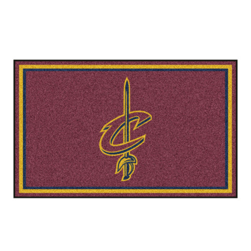 4' x 6' Yellow and Maroon NBA Cavaliers Plush Non-Skid Area Rug - IMAGE 1