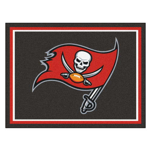 8' x 10' Brown and Red NFL Tampa Bay Buccaneers Plush Non-Skid Area Rug - IMAGE 1
