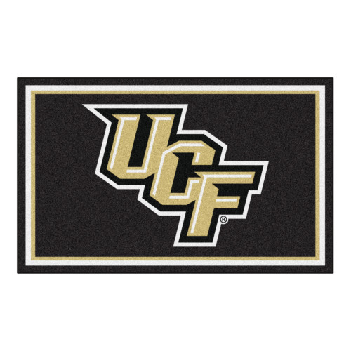 4' x 6' Black and Beige Contemporary NCAA Knights Rectangular Area Rug - IMAGE 1