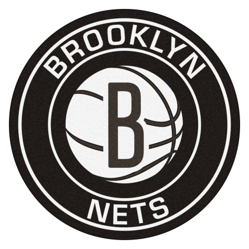 """27"""" Black and White NBA Brooklyn Nets Rounded Door Mat - IMAGE 1"""