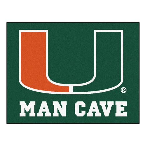 "33.75"" x 42.5"" Green and Orange NCAA University of Miami Hurricanes Rectangular Mat Area Rug - IMAGE 1"