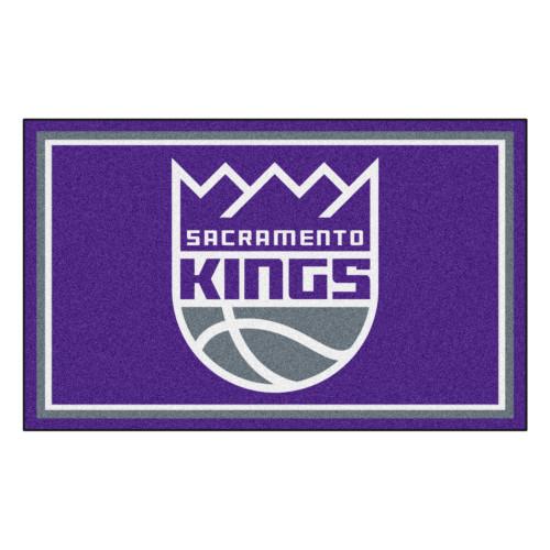3.6' x 5.9' Purple and White NBA Sacramento Kings Plush Area Rug - IMAGE 1