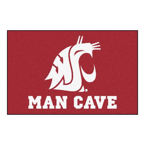 "19"" x 30"" Red and White NCAA Washington State University Cougars Rectangular Mat Area Rug - IMAGE 1"