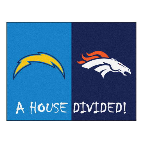 """33.75"""" x 42.5"""" Yellow and Orange NFL House Divided Non-Skid Mat Rectangular Area Rug - IMAGE 1"""