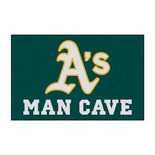 "19"" x 30"" Green and White MLB Oakland Athletics Man Cave Starter Rectangular Mat Area Rug - IMAGE 1"