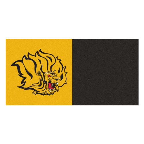 """Club Pack of 20 Gold and Black NCAA Bluff Lions Square Team Carpet Tile Flooring 18"""" x 18"""" - IMAGE 1"""