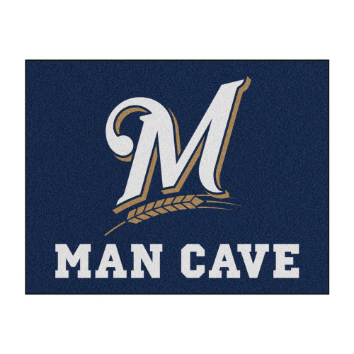 """33.75"""" x 42.5"""" White and Black MLB Milwaukee Brewers Man Cave All-Star Rectangular Mat Area Rug - IMAGE 1"""