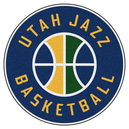 "27"" Blue and Yellow NBA Utah Jazz Rounded Door Mat - IMAGE 1"