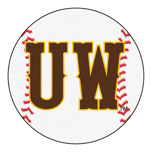 """27"""" Brown and White NCAA University of Wyoming Cowboys Baseball Mat Round Area Rug - IMAGE 1"""