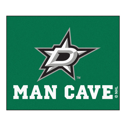 """59.5"""" x 71"""" Green and White NHL Dallas Stars """"Man Cave"""" Tailgater Rectangular Mat Area Rug - IMAGE 1"""
