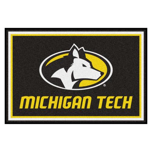 4.9' x 7.3' Yellow and Black NCAA Michigan Tech University Huskies Plush Area Rug - IMAGE 1