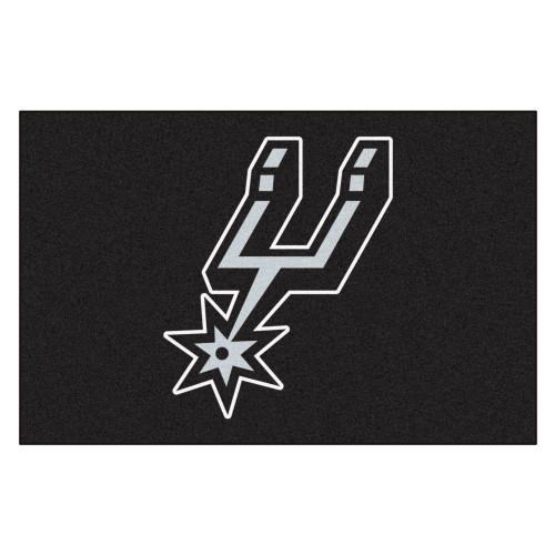 "19"" x 30"" Black and White NBA Spurs Starter Mat Rectangular Area Rug - IMAGE 1"