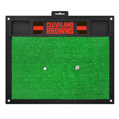 """20"""" x 17"""" Black and Green NFL """"Cleveland Browns"""" Golf Hitting Mat Practice Accessory - IMAGE 1"""